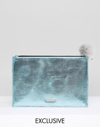 Skinnydip Exclusive Zip Top Pouch Bag In Metallic Blue With Grey Pom Blue