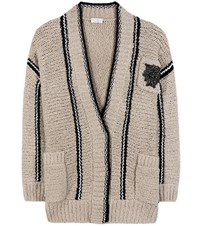 Brunello Cucinelli Knitted Wool Blend Cardigan Beige