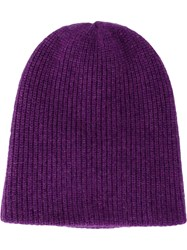 The Elder Statesman Knitted Cap Pink And Purple