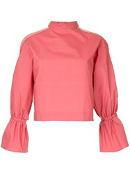 Aula High Neck Blouse Pink And Purple