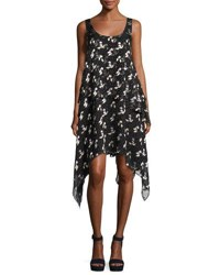 Opening Ceremony Gestures Floral Burnout Handkerchief Dress Black Black Pattern