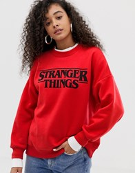 Pull And Bear Pullandbear Stranger Things Logo Sweatshirt In Red Orange
