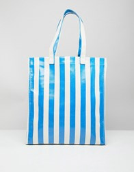 Stradivarius Bold Stripe Shopper Blue