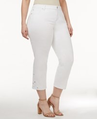 Inc International Concepts Plus Size Crocheted White Wash Cropped Jeans Only At Macy's