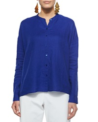 Eileen Fisher Mandarin Collar Organic Linen Long Sleeve Top Women's
