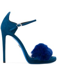 Loriblu Fur Trim Stiletto Sandals Suede Leather Rubber Blue