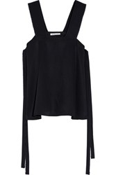 Helmut Lang Tie Side Frayed Twill Top Midnight Blue