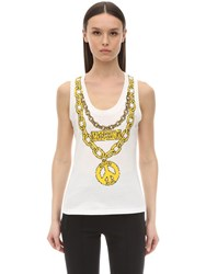 Moschino Trompe L'oeil Printed Jersey Tank Top White