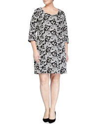 Melissa Masse Floral Pique Shift Dress Black White