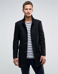 Selected Homme Overcoat With Funnel Neck Black