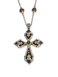 Konstantino Nemesis London Blue Topaz And Green Agate Cross Pendant Silver