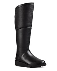 Ugg Kendi Sheepskin And Leather Wedge Tall Boots Black