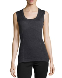 Philosophy Di Alberta Ferretti Sleeveless Knit Wool Blouse Charcoal Gray