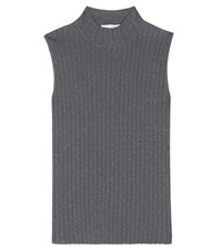 Rag And Bone Tri Cotton Ribbed Top Grey