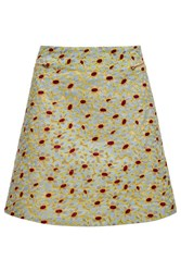 Almost Famous Embroidered Floral Mini Skirt Green