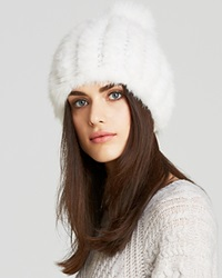 Maximilian Knitted Mink Hat White