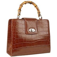 Buti Brown Croco Embossed Leather Compact Tote Bag