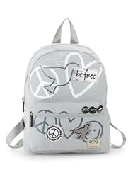 Peace Love World Pooch Graphic Backpack Grey