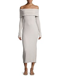 Nytt Fitted Ribbed Off The Shoulder Maxi Dress White