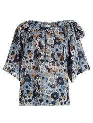 Chloe Bell Sleeved Floral Print Top Blue Print