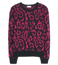 Saint Laurent Printed Wool And Mohair Blend Sweater Black