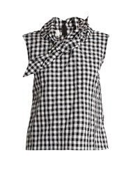 Marques Almeida Tie Front Gingham Top Black White