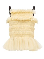 Molly Goddard Betsy Lace Up Smocked Tulle Top Cream