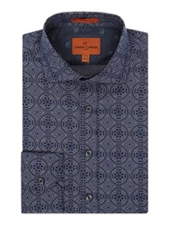 Simon Carter Men's Chambray Tile Print Harrison Shirt Blue