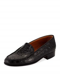 Gravati Crocodile Moccasin Flat Black