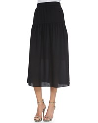 Nm Exclusive Linen Peasant Maxi Skirt Black