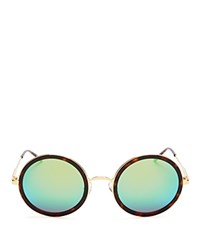 Wildfox Couture Ryder Deluxe Mirrored Sunglasses 54Mm Gold Tort Green Mirror
