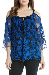 Karen Kane Women's Cold Shoulder Lace Top Bright Blue