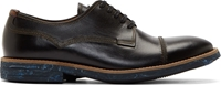 Paul Smith Black And Beige Leather Skull Derby Shoes