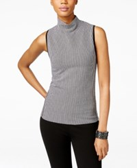 Inc International Concepts Striped Mock Neck Sleeveless Top Only At Macy's Deep Black