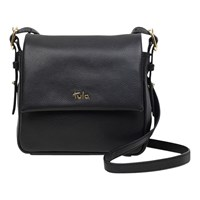 Tula Soft Originals Leather Small Flapover Cross Body Bag Black