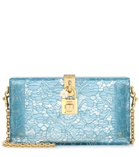 Dolce And Gabbana Exclusive To Mytheresa.Com Box Lace Clutch Blue