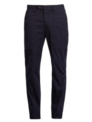 Brunello Cucinelli Slim Leg Cotton Chino Trousers Navy