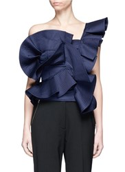 Johanna Ortiz 'Dama Danzante' Ruffle One Shoulder Top Blue