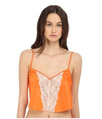 Emporio Armani Sexy Fancy Pop Satin Short Top Pale Blush Sunset Women's Clothing Orange