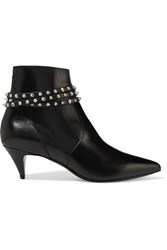 Saint Laurent Studded Leather Ankle Boots Black
