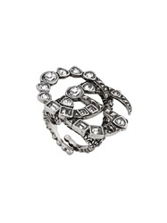 Gucci Crystal Double G Ring Silver