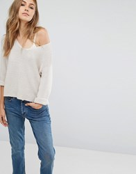 Mango V Neck Sweater Light Beige