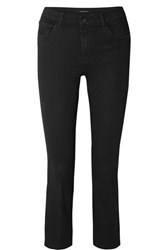 J Brand Selena Cropped Mid Rise Flared Jeans Black