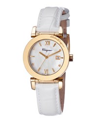 Salvatore Ferragamo 31Mm Watch W Mother Of Pearl Dial And Patent Leather Strap White