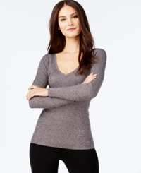 Inc International Concepts Ribbed V Neck Sweater Only At Macy's Silver