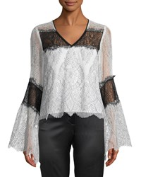Nanette Lepore Chanteuse Sheer Lace Bell Sleeve Top White