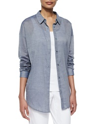 Eileen Fisher Long Sleeve Chambray Open Back Shirt Petite