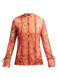 Etro Bahidora Lace Panelled Silk Blouse Red Print