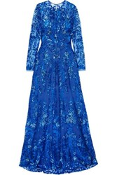 Naeem Khan Sequined Tulle Gown Blue