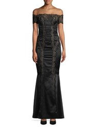 Mandalay Off The Shoulder Ruched Lace Gown Black